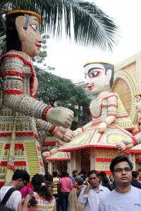 pandal de Tridhara Sammilani dedicado al estado de Rajastán