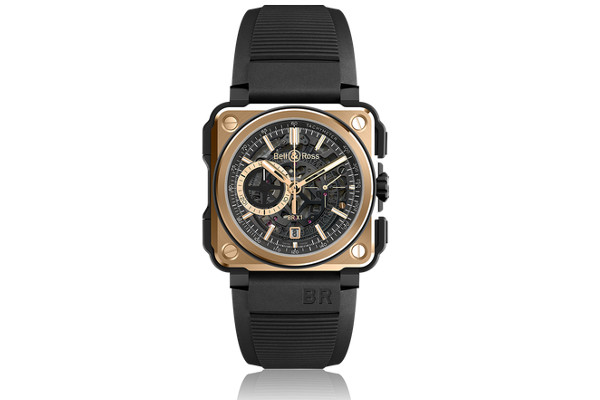 BR-X1 Skeleton Chronograph Rose Gold & Ceramic: exquisitez con rubíes.