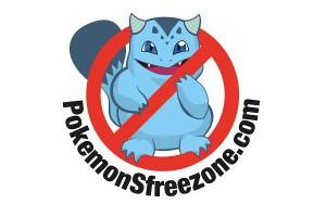 """Cartel """"Zona Libre de Pokémon""""."""