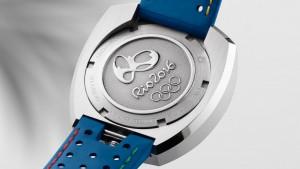 El Seamaster Bullhead Rio destaca por su pulsera de cuero en azul y aparece el logo de los juegos grabado en el reverso.