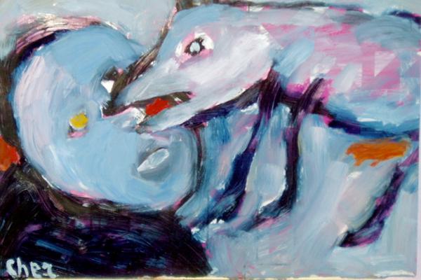 """La obra del sueco Vlademar Cher """"Perro muerde a un hombre"""". ¿Una metáfora de la justa venganza del can al poco talentoso pintor?"""