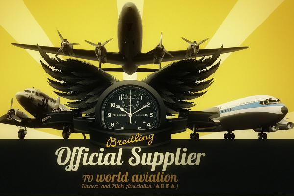 Una imagen publicitaria histórica que refleja la unión entre Breitling.