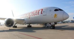 El Boeing Dreamliner 787 de Ethiopian Airlines durante su parada en el aeropuerto de Adolfo Suárez Madrid Barajas.