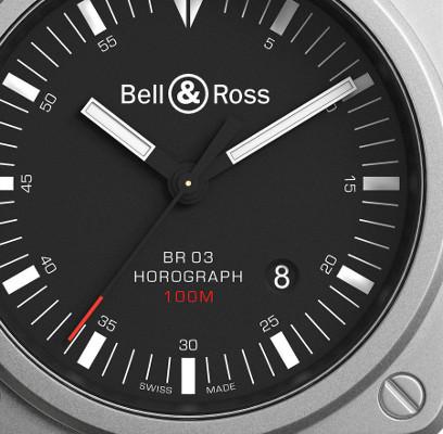 Detalle de la esfera del BR03-92 Horograph.