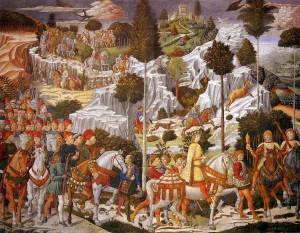 El Cortejo de los Reyes Magos en los frescos de la capilla del Palazzo Medici Riccardi.