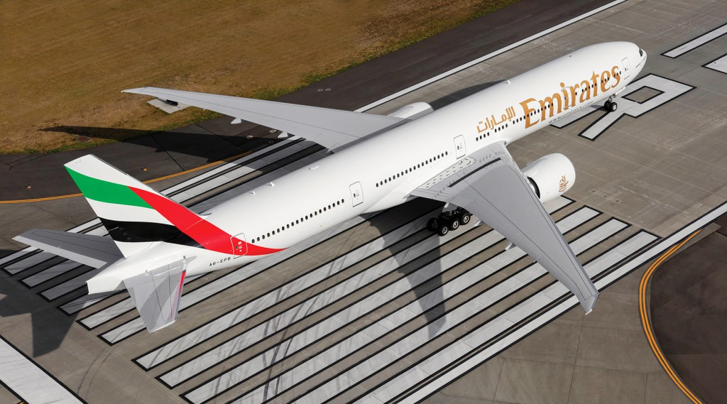 Realizado a bordo de un Boeing 777-300ER de Emirates.