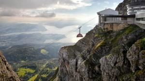 Al Monte Pilatus (2.132 m.) se puede subir en teleférico o en el tren de cremallera con más pendiente del mundo. Foto: Turismo de Lucerna
