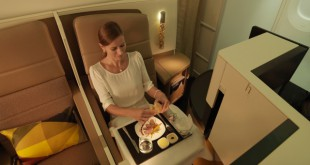 Etihad Airways_B787_Business Studio_Dining Female Guest
