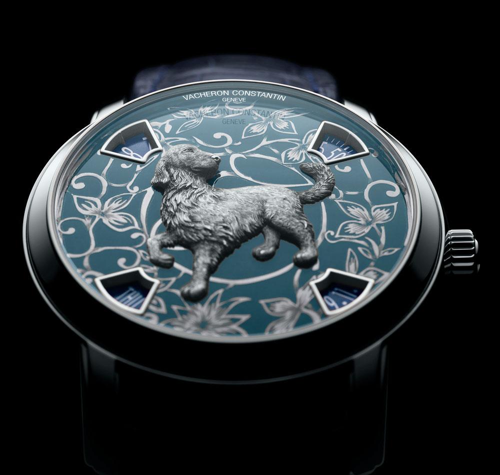 La esfera de platino del reloj Vacheron Constantin dedicado al horóscopo  chino del perro.