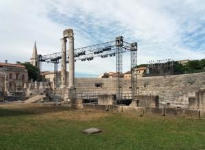 En el teatro romano se celebran muchos espectáculos. Uno de ellos, un festival de películas antiguas de romanos que se celebra cada agosto