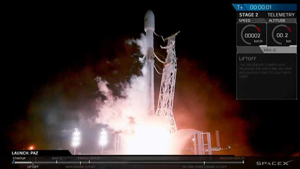 Lanzamiento del satélite español PAZ junto con los Microsat-2a y Microsat-2b de Starlink, el día 22 de febrero 2018.