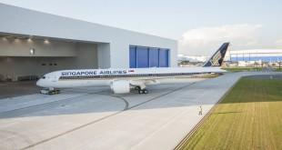 El primer 787-10 de Singapore Airlines en la planta de Boeing en Carolina del Sur.