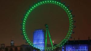 El London Eye de la capital del país vecino, también se ilumina de verde.
