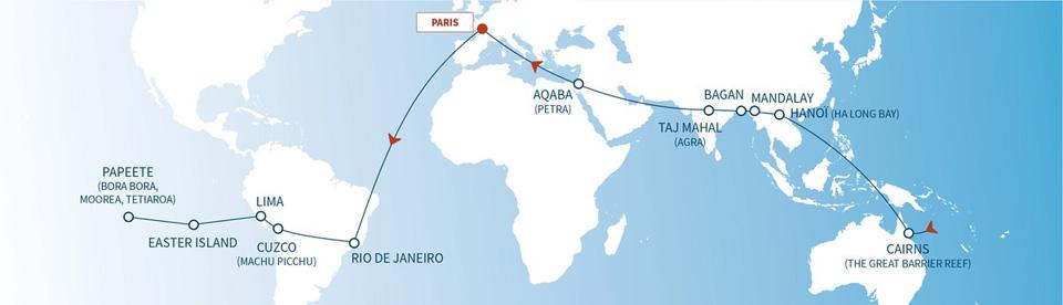 El itinerario de los 22 días de viaje.