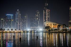 El skyline de Dubái, de noche.