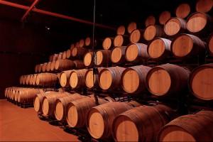 Las barricas de roble maduran el vino bajo tierra.