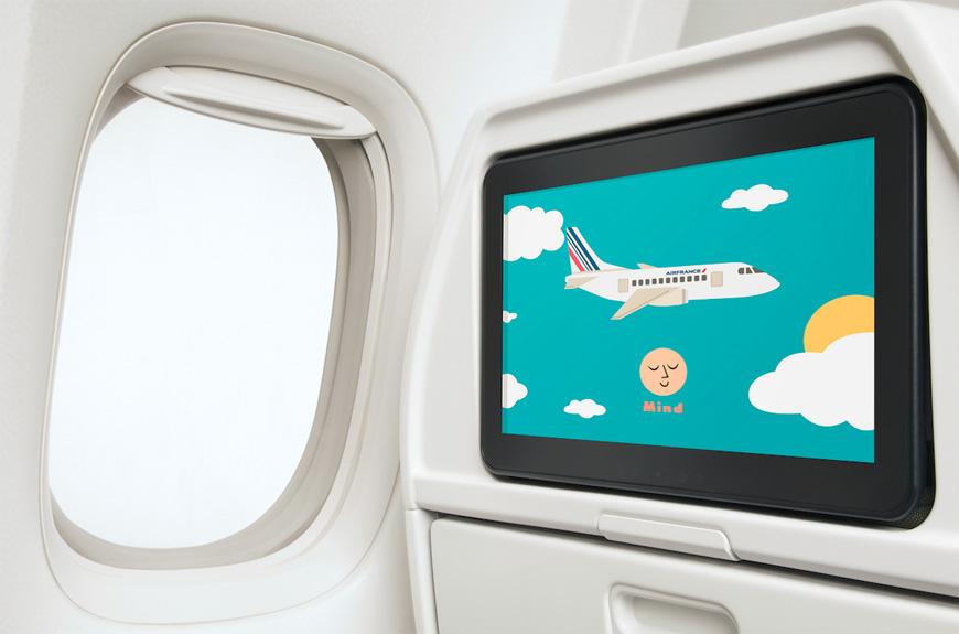 En vuelo, entretener y relajar a los niños mediante programas de iniciación a la meditación. Foto: Air France