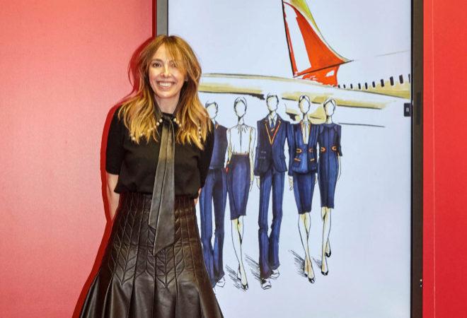 Teresa Helbig durante la presentación de la nueva línea de uniformes, en la MBFWMadrid.