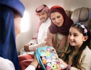 La mochila con juegos y juguetes en Saudia Airlines.