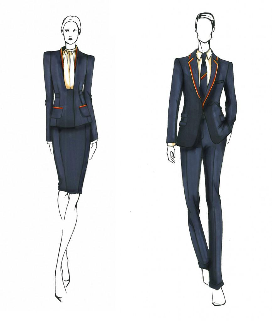 Bocetos de Teresa Helbig para los nuevos uniformes de Iberia.
