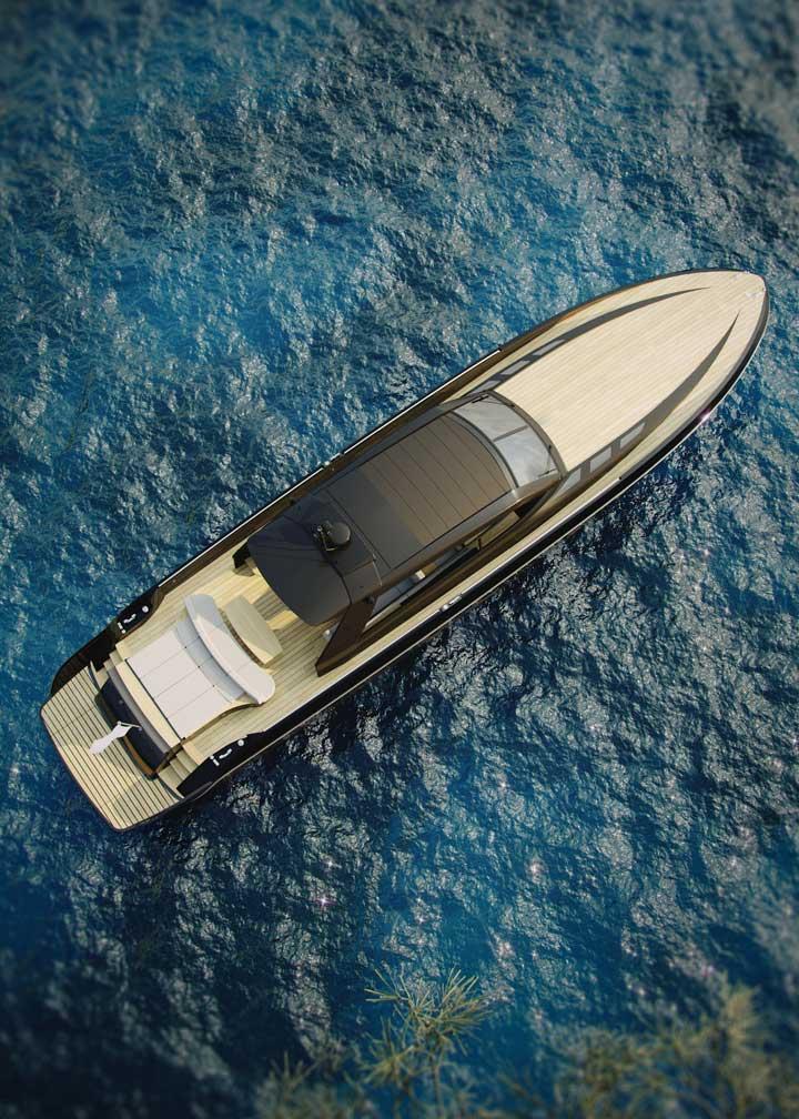 El 85 GTS hace hincapié en disfrutar del sol y del mar tanto como sea posible.