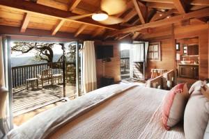 El ambiente de estas cabañas de madera de Virginia, levantadas sobre grandes árboles, es sereno y confortable.