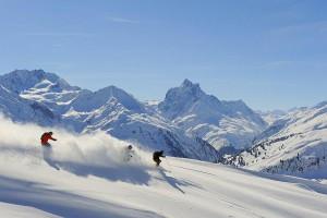 Esquiando en Kitzbühel.