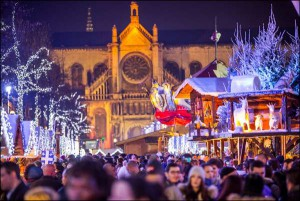 Mercadillo navideño en Plaza Saint Catherine de Bruselas.
