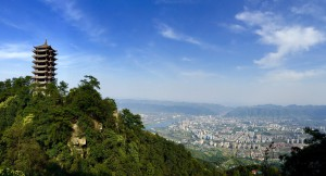 La ciudad vista desde la montaña Jinyun.