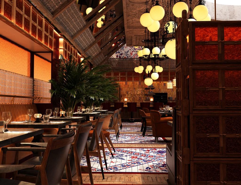 El restaurante, en el que sobresalen los colores amarillo albero y rojo carmesí, está inspirado en un mesón madrileño.
