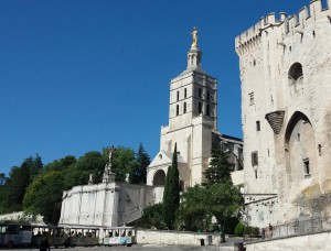 Vista de la catredral Notre-Dame des Doms junto al palacio de los Papas.