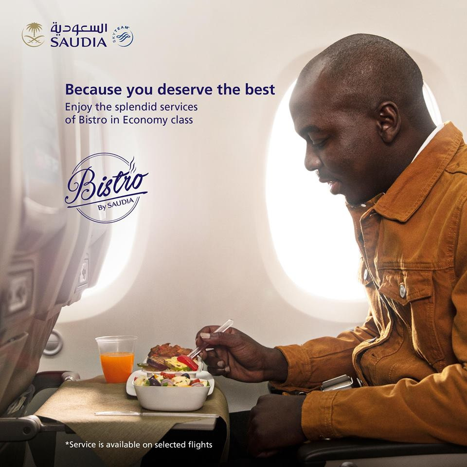 Saudia Airlines sin la tradicional bandeja