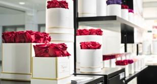 Inna Wiebe presenta sus rosas en elegantes cajas o bonitos recipientes de vidrio. Foto: © Munich Airport.