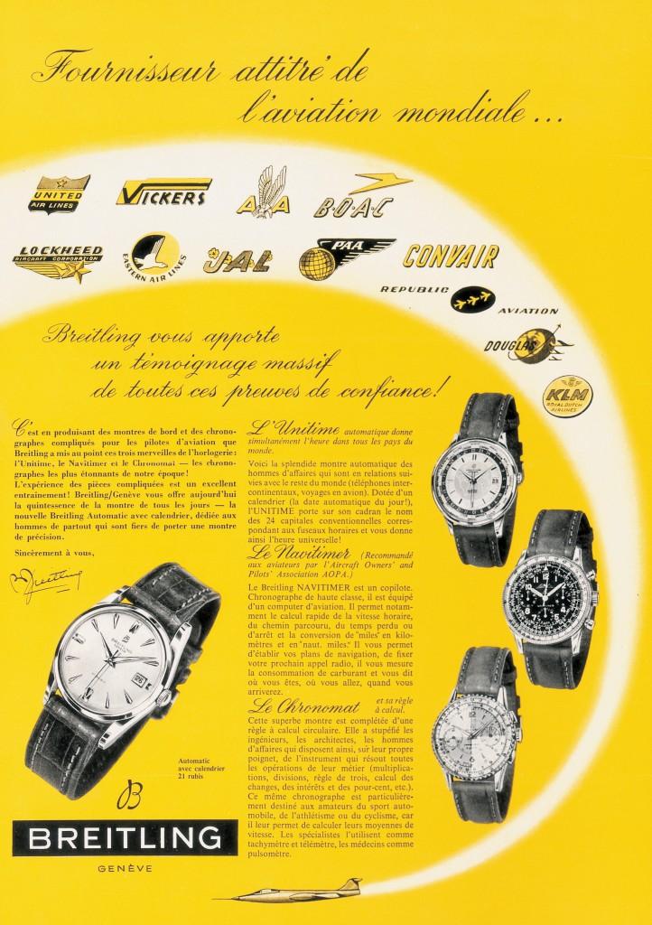 Publicidad de los años 50. Breitling se convierte en el proveedor oficial de la aviación mundial, instalando sus cronógrafos a bordo en aviones de hélice y más tarde en los jets de numerosos fabricantes y compañías aéreas.