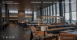 Una captura de la web del aeropuerto con una panorámica de la sala de embarque.