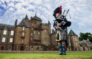 Castillo escocés en Edimburgo, Escocia.