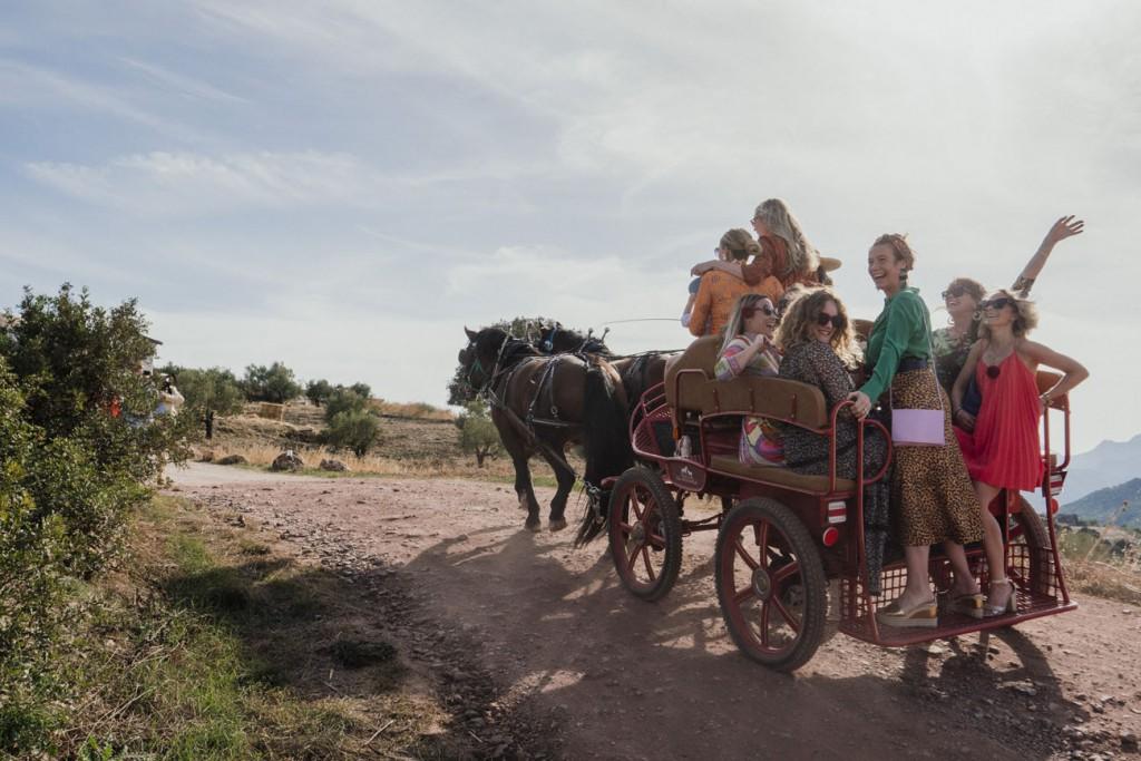 El acceso a la finca sólo se realiza con la flota de todoterrenos de la finca. En la foto, paseo en carro tirado a caballos. Foto: Lena Saugen