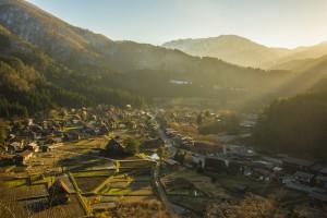Shirakawa-go se encuentra a los pies del Monte Hakusan.