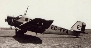 Un avión Junker JU-52 fue el primer avión con el que la aerolínea operó la ruta Madrid-Lisboa.
