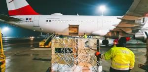 Llegada de carga aérea a la bodega de la nave. Foto: Vienna Airport