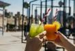 Cóctel de Margarita de Mango Congelado y de Melón-Pepino Honeydew para celebrar el verano en NYC desde la terraza del Met.