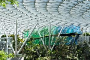 La estructura de pasarelas de red suspendidas regala las mejores vistas del jardín tropical.
