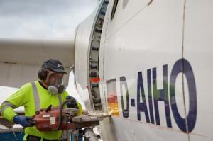 revestimiento de aluminio del avión también se ha utilizado para fabricar llaveros
