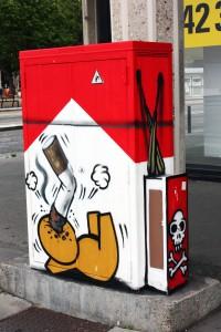 """Uno de los 50 grafitis de la serie """"Gouzous""""."""